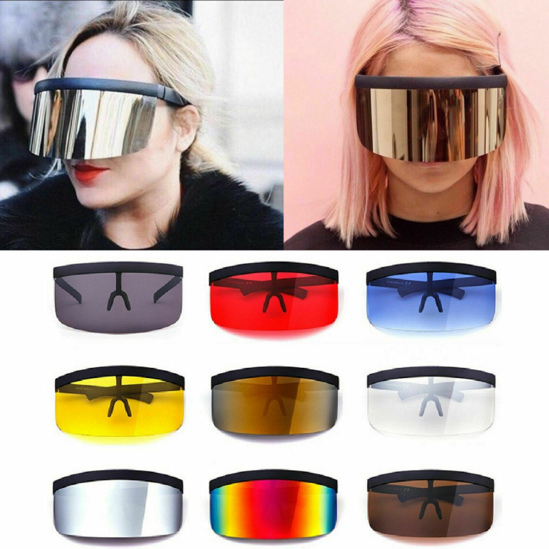 New Big Lens Oversize Shield Sunglasses Windproof Visor Flat Eyeglasses Hood 2020 Fashion Glasses