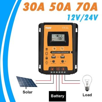 PowMr 70A 50A 30A Solar Charger Controller 12V 24V Auto Solar Panel Battery Regulator LCD Display Dual USB Output Solar System