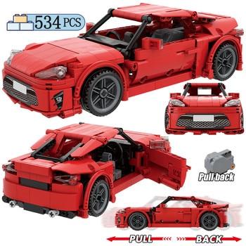 City Creator Pull Back Mechanical Vehicle Building Blocks MOC Technic Racing Car DIY Model Bricks Education Toys For Children 1