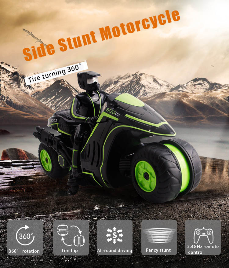 Hot Selling RC Motorcycle 2.4Ghz Remote Control 360 Degrees Rotating Drift Stunt Motorbike High Speed Racing Motorcyle L