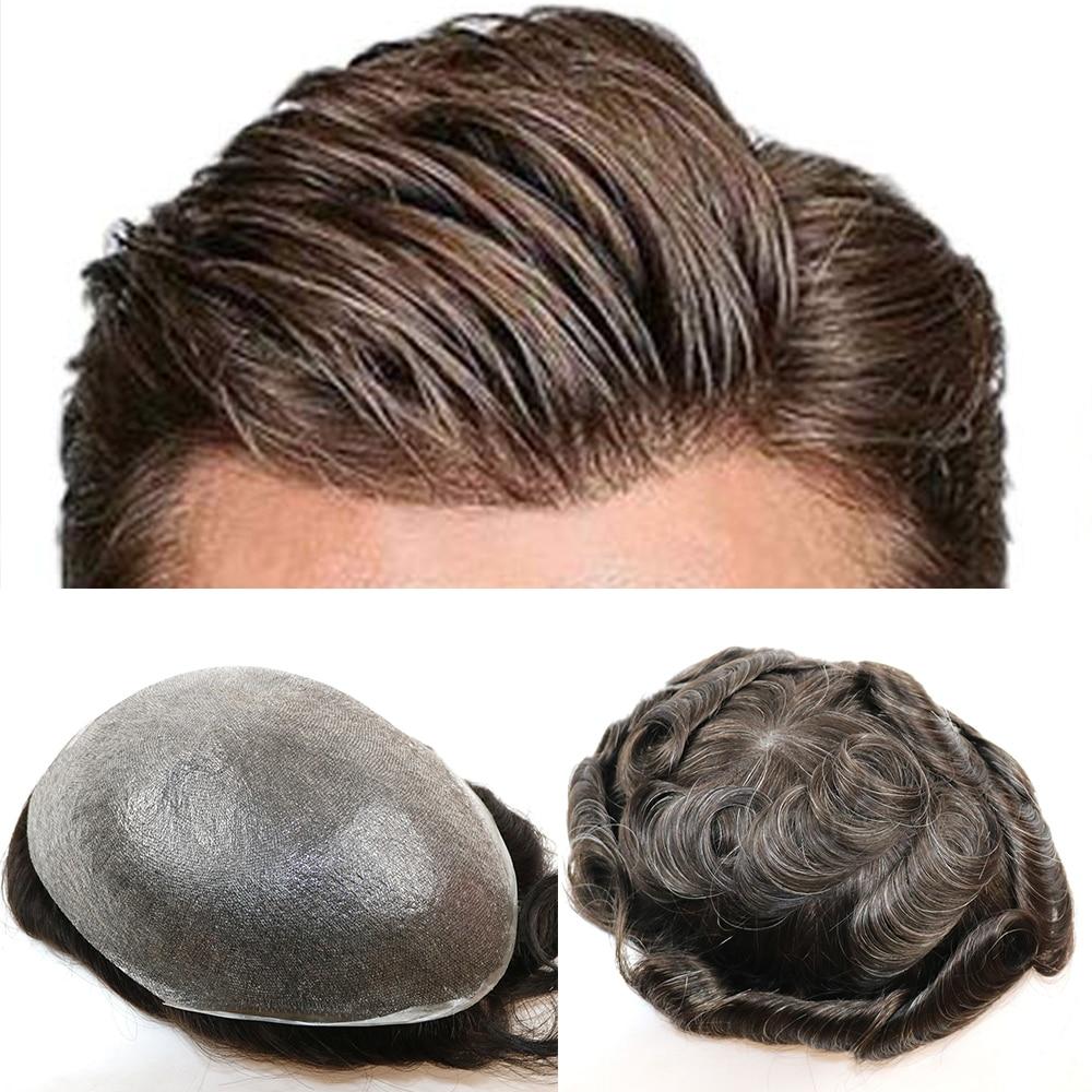 Super fino toupee da pele para o cabelo humano masculino com 8x10 polegada capa de pele me base único nó natural onda masculino substituição