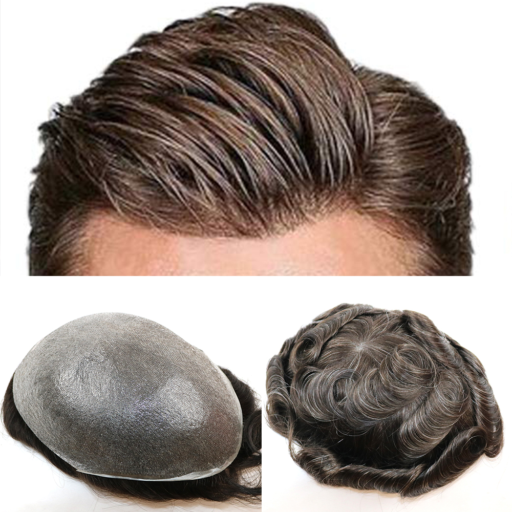 Ultra Thin Skin 0.02-0.03mm V-looped 100%Real Human Hair Men Toupee In Stock Ready To Ship