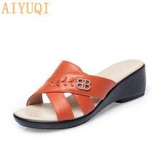 AIYUQI женские тапочки мода к 2020 году новые летние Клин большой размер 41 42 43 обувь