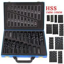 цена на 170pcs HSS High Speed Steel Drill Bit Set High Quality Power Drilling Tools for Wood 1mm-10mm Black Twist Drill Bits Set