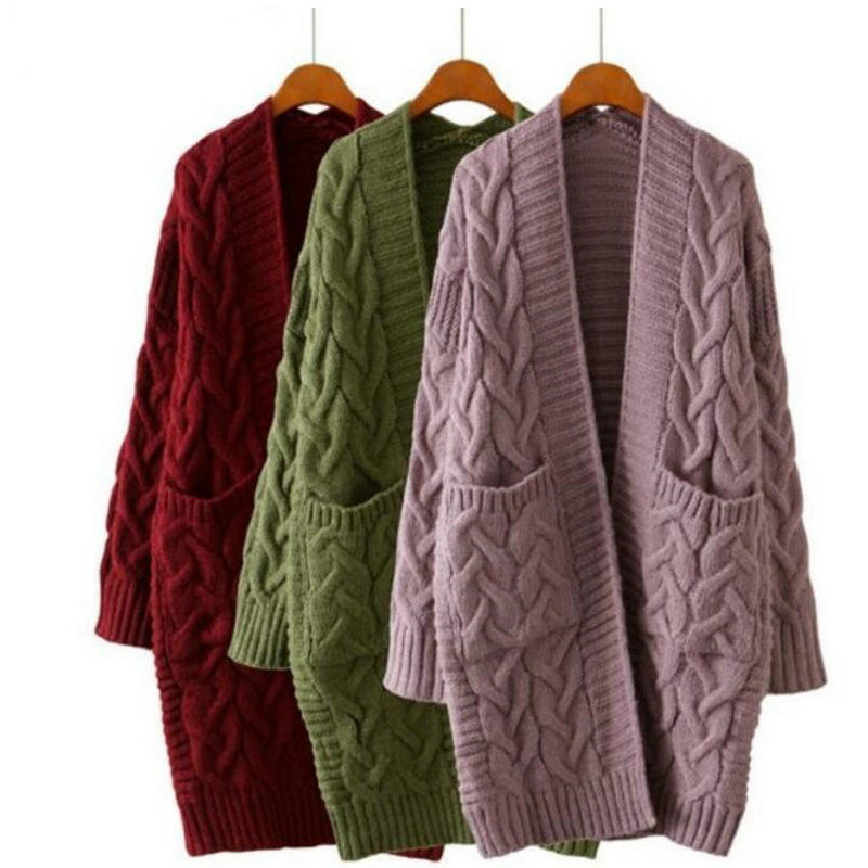 2019 Winter Women Oversize Knitting Long Cardigan With Pockets Loose Causal Twist Knit Sweaters Coat 8 Colors