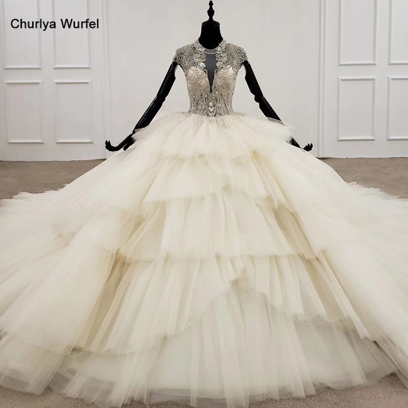 HTL1284 2020 Ball Gown Wedding Dress Women Cap Sleeve Beading Crystals Luxury White Layers Wedding Dress For Brides New