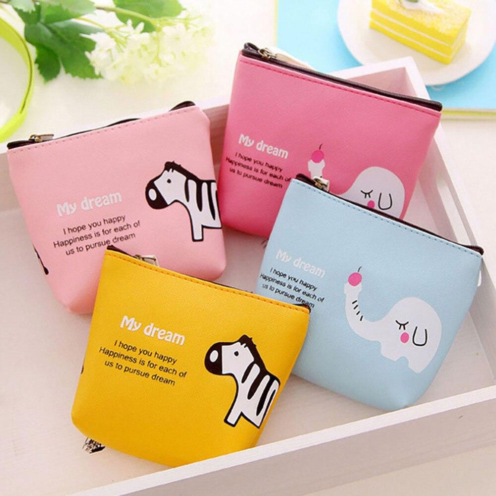 Cute Animal Wallet Zipper Wallet Creative Women's Canvas Cute Baby Elephant Cartoon Coin Purse Key Bag Wallet Durable Coin Bag