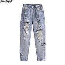 Women Jeans Pants Blue Trousers Ripped-Pockets Harem DIMANAF Female High-Waist Large-Size