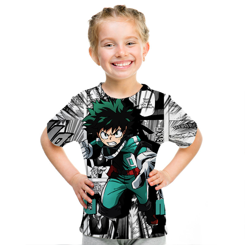 Boku No My Hero Academia Tee for Teenager Casual Cotton T Shirts Short Sleeve Boys Kids Girls