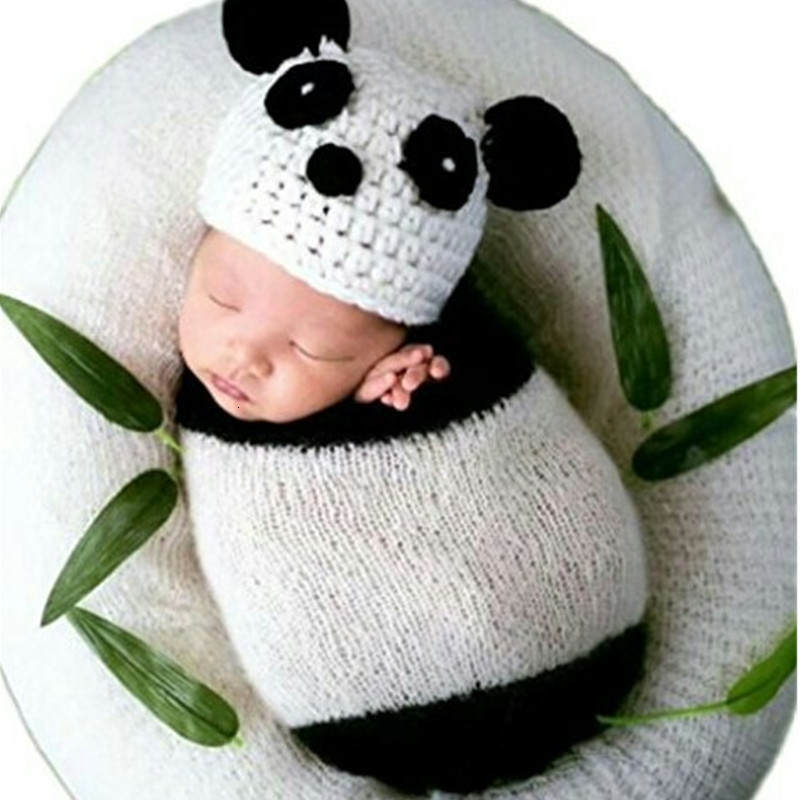 Newborn Photography Props Accessories Baby Panda Crochet Hat+Sleeping Bag Set Newborn Photography Wraps Baby Photo Props