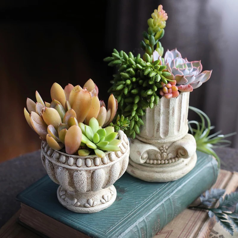Vintage Roman Column Designer Pot Concrete Silicone Mold Succulent Plant Vase Aroma Plaster Clay Crafts Molds For Cement Decor