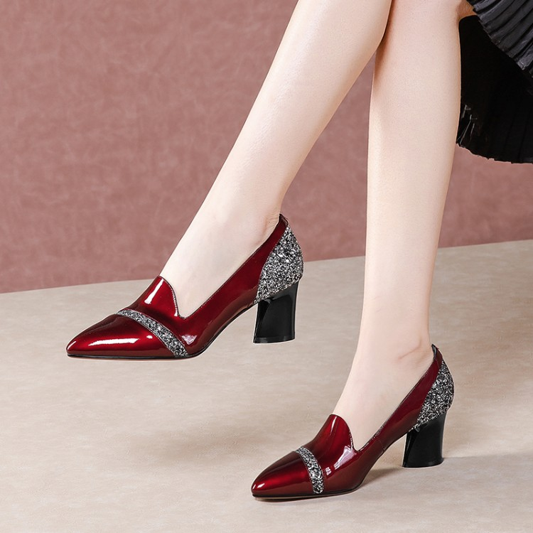 2019 Women Pumps Mixed Colors Pointed Toe Summer Shoes Bowknot high Heels Shoes Ladies Shoes red,Black,7