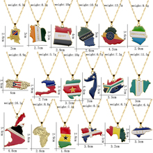 New Style Africa Country Map And Flag Choker цепи Metal Necklace