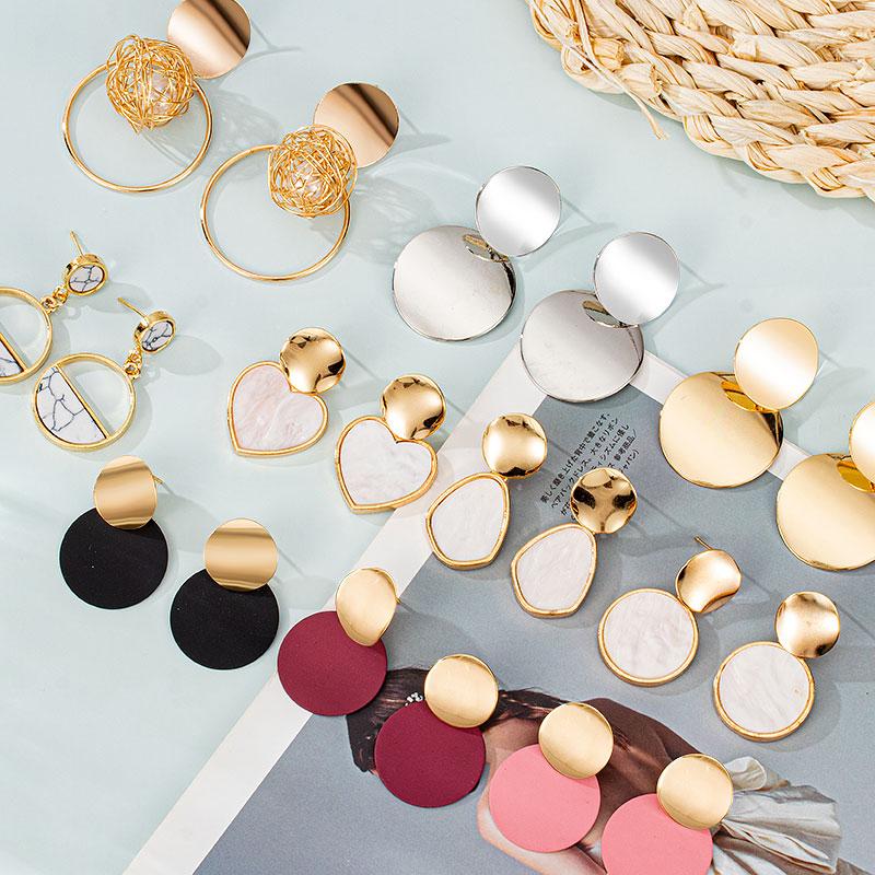 2021 Trend Korean Style Romantic Dangle Earrings Set Cute Women's Geometric Stud Earrings Punk Jewellery Party Unusual Earrings