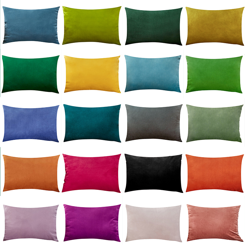 CANIRICA Cushion With Core Velvet Lumber Pillow Home Sofa Pillow For Bedroom Decoration Rectangular Chair Seat Cushions 30x50cm