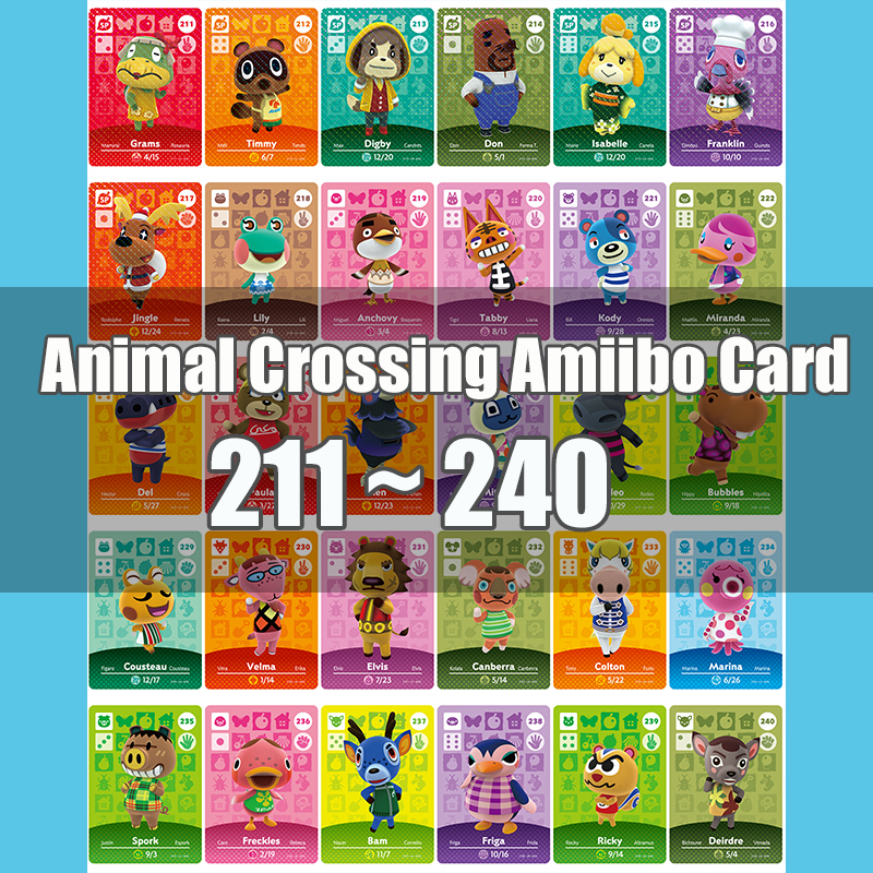 Animal Crossing Amiibo Card Animal Crossing New Horizons Game NFC Lobo Card Work For NS 3DS Game Switch Series 3 (211-240)