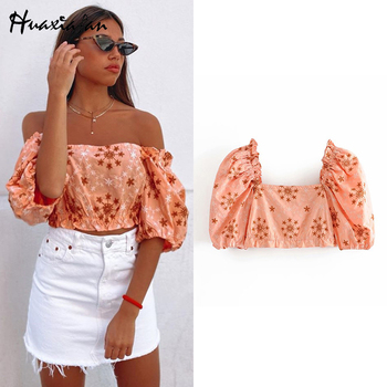 Huaxiafan Fashion Embroidery Ruffles Cropped Women Blouses 2020 Vintage Slash Collar Puff Sleeves Female Shirts Blusas Chic Tops black long sleeves rose embroidery pattern cropped top