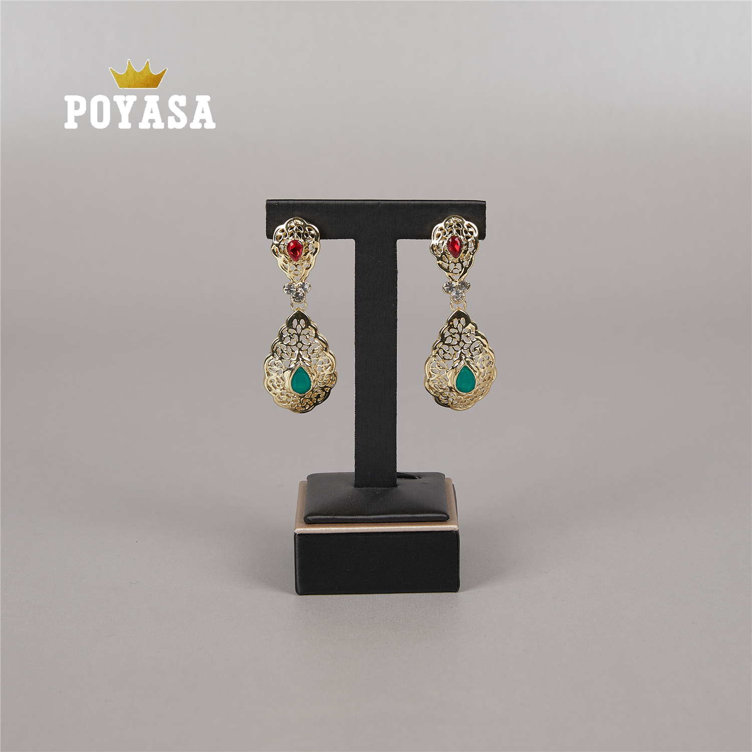 2020 April Gold Color Earring Red And Green Stone Fashion Jewelry Alloy Earring