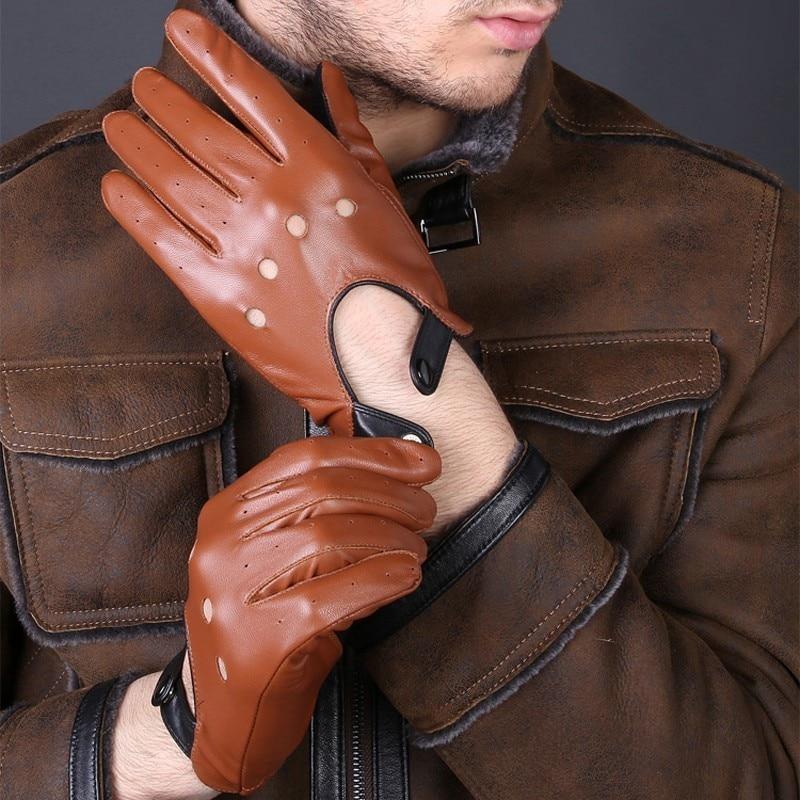 Мужские перчатки из натуральной кожи, без подкладки, 100% оленья кожа, перчатки с полупальцами, перчатки без пальцев для фитнеса в тренажерном...
