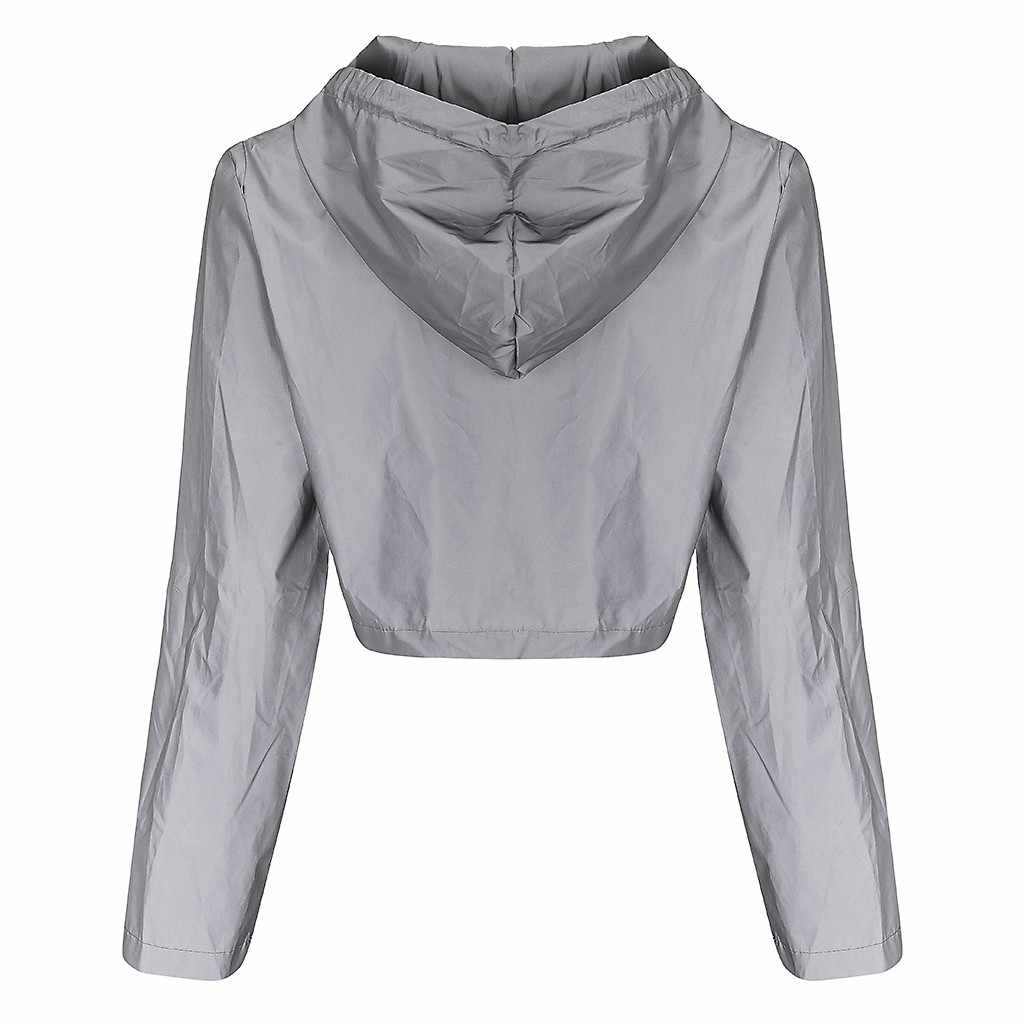 Jaycosin Reflecterende Top T-shirt Vrouwen Casual Reflecterende Splicing Hooded Trekkoord Lange Mouw Hoode Tshirt Rits Streetwear 10