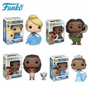 Image 1 - Original FUNKO Disney Princess Cinderella Tiana Moana Half immortal Maui Action Figure Toys Model Christmas Kids Birthday Gift