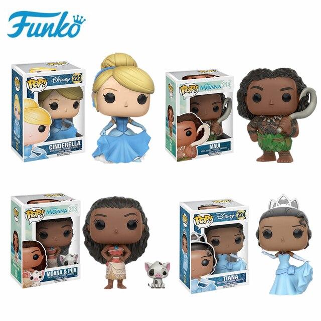 Original FUNKO Disney Princess Cinderella Tiana Moana Half immortal Maui Action Figure Toys Model Christmas Kids Birthday Gift