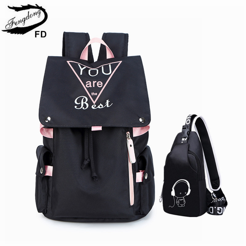 FengDong 2pcs/set Teen Girl School Backpack Set Luminous Sling Chest Bag Set High School Bags For Girls Travel Laptop Backpack