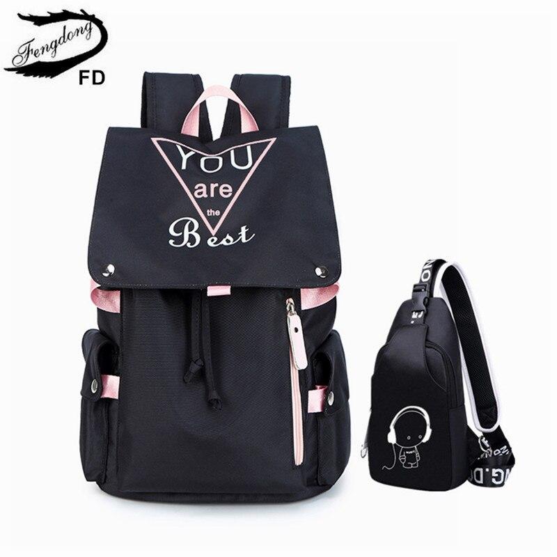 FengDong 2pcs/set Teen Girl School Backpack Set Luminous Sling Chest Bag Set High School Bags For Girls Travel Laptop Backpack