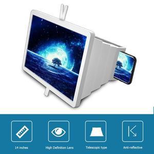 Image 2 - 14 携帯電話画面拡大鏡ブラケットスタンドスマートフォンデスクトップ増幅引伸映画ビデオディスプレイアンプ