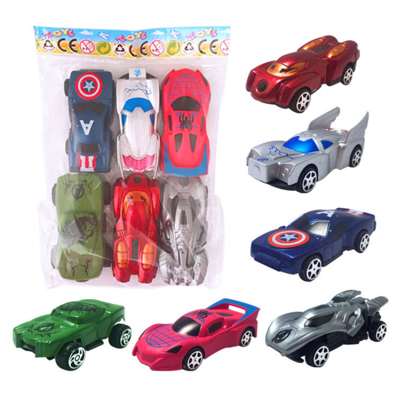 6 Pcs/Set The Avengers Chariot Set Iron Hulk Loki Spider-man 1:64 Diecast Plastic Car Model Toy Suit For Children Gifts