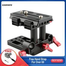 CAMVATE placa de montaje de liberación rápida para cámara, Base QR con abrazadera de doble varilla LWS de 15mm estándar para trípode Manfrotto 577/501/ 504/ 701