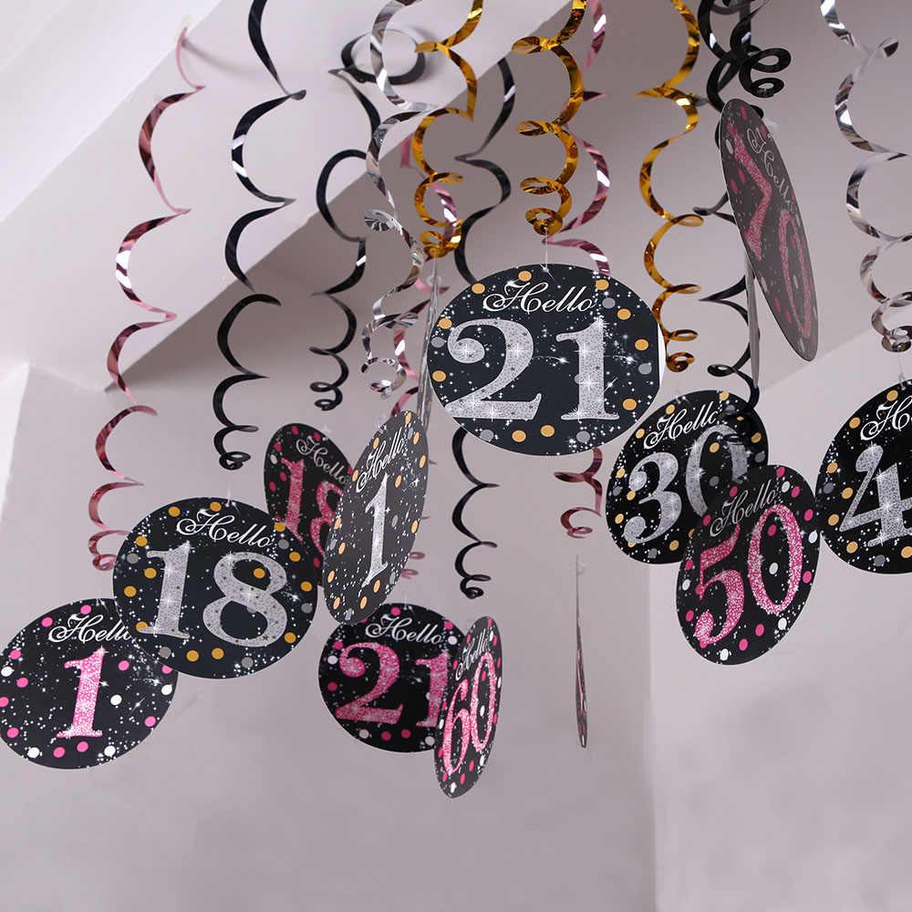 6 Pcs PVC Spiral Selamat Ulang Tahun Swirl 18 21 30 40 50 60 70 Tahun Menggantung Ornamen Pesta Ulang Tahun dekorasi Ulang Tahun Dekorasi