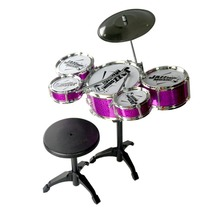 цена на Kids Musical Drum Instrument Toys 5 Drums Simulation Jazz Drum Kit with Drumsticks Educational Learn Musical Toy for Children