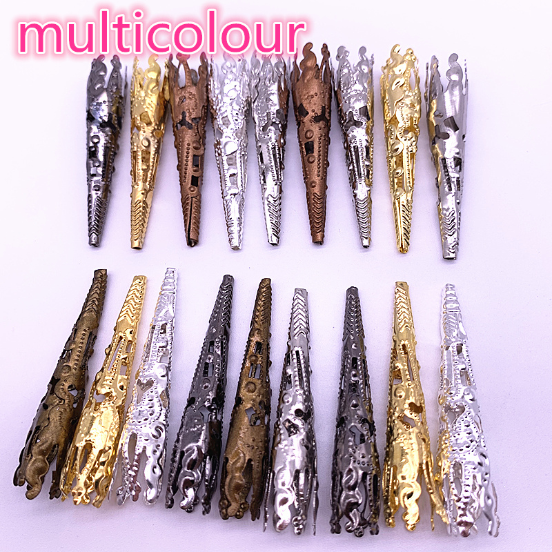 30pcs / Lot 42 X8mm Multicolour Caps Bead Hollow Out Flower Bugle Filigree Bead End Cap Cone Jewelry Making Components Finder