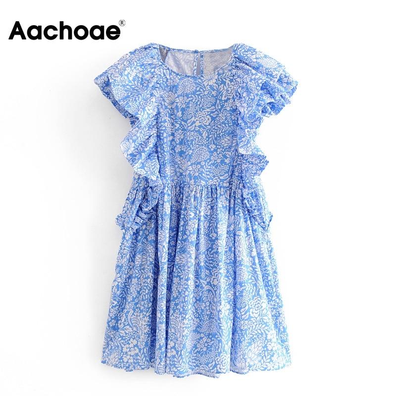 Women Sweet Butterfly Sleeve Mini Dress Summer Floral Print Boho Style Ladies Dresses O Neck Fashion Loose Dress Sukienki Letnie