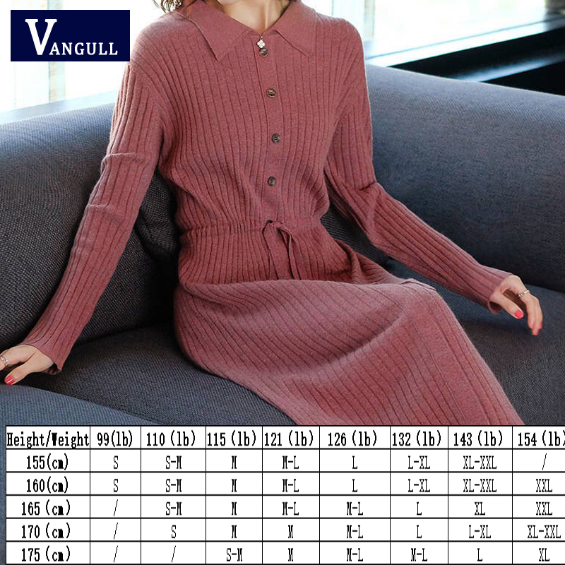 Vangull Women Knitted Dresses Solid Female Long Sleeve Dress 2019 New Autumn Winter Turn-down Collar Button Solid Slim Dresses 48