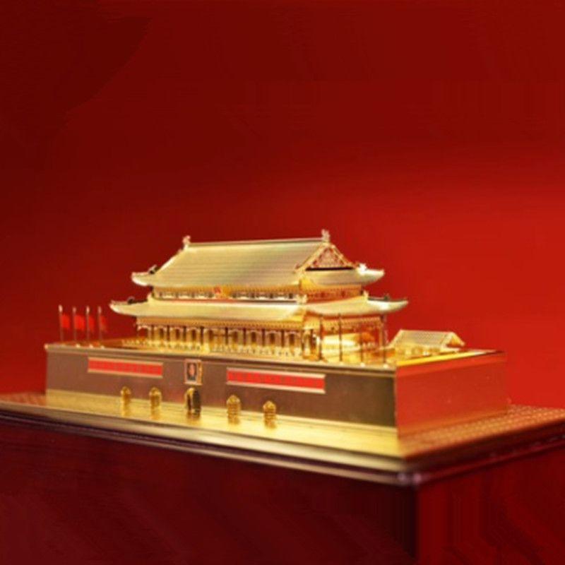 Tiananmen Cinese antico modello di edificio di metallo di rame originale di office finestra di visualizzazione casa artigianato