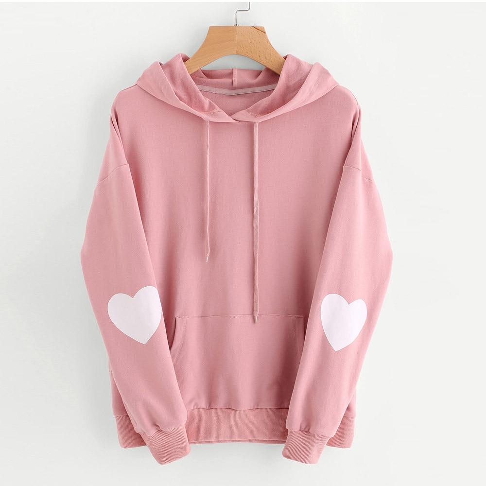 Fashion Patchwork Hoodies Women Love Heart Long Sleeve Hooded Sweatshirt Fall Pocket Drawstring Hoodie Sudaderas Mujer#5s