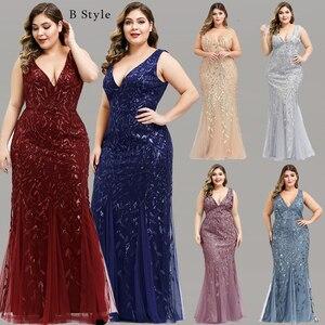Image 3 - Plus Size Sequined Evening Dresses Long Ever Pretty O Neck Half Sleeve Mermaid Abiye Sexy Elegant Party Dresses Robe De Soiree