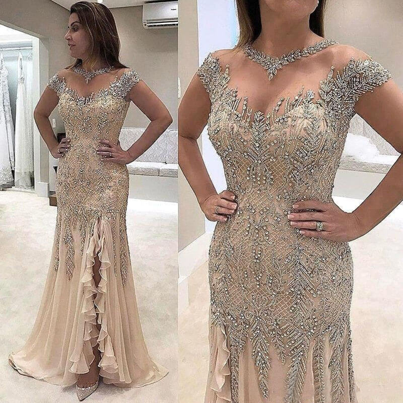 Robe Mere De La Mariee Beading Mother Of The Bride Dress Mermaid Plus Size Groom Dresses For Wedding Side Slit Evening Dress
