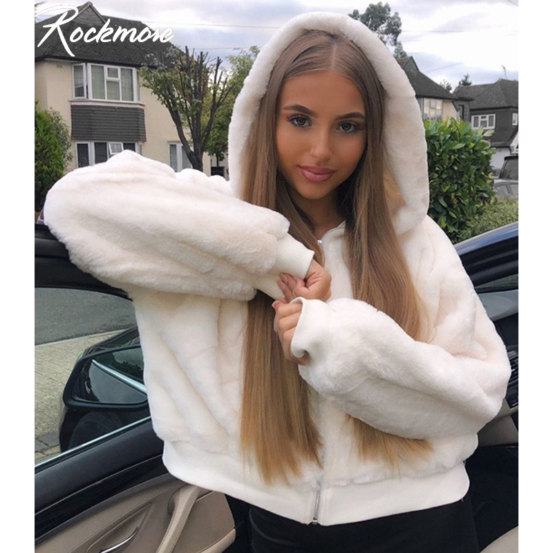 Rockmore Furry Zipper Hoodies Coats And Jackets Women Oversized Fuzzy Hooded Jacket Ladies Loose Streetwear Harajuku Hoodie Fall
