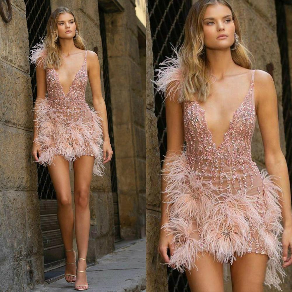 Light Pink Cocktail Dresses Sequined Beads Luxury Feather Deep V Neck Short Party Dress Chic Homecoming Formal Gowns Custom Made