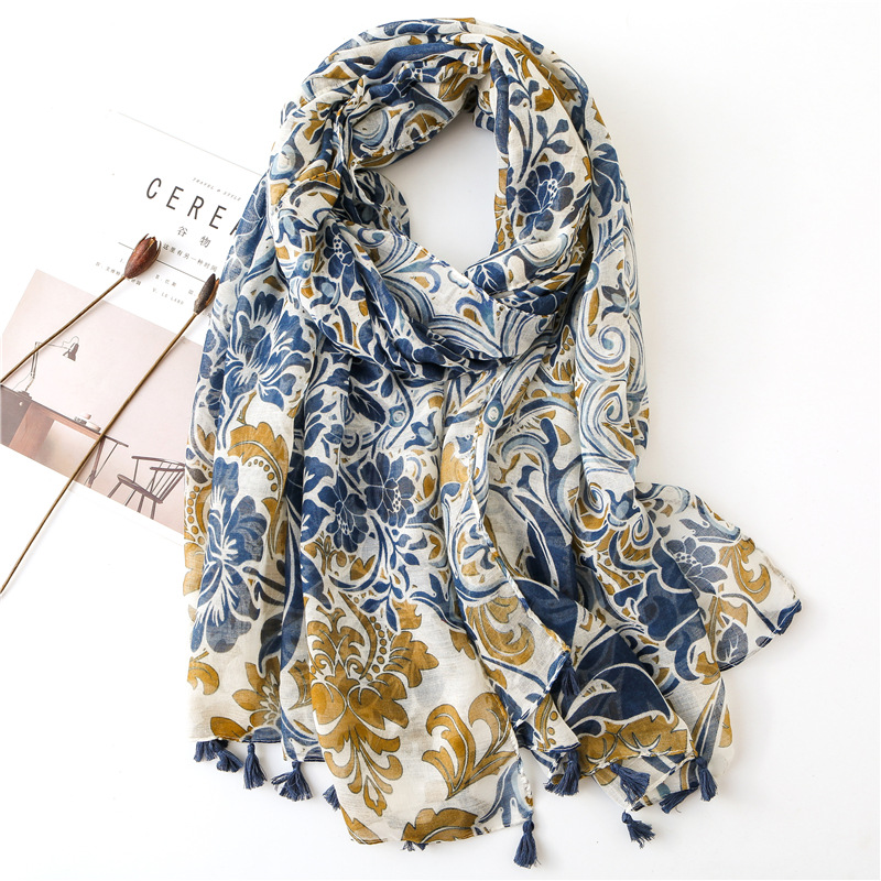 Visrover 2020 New Summer Scarf Women Shawl Tropical Print Scarf Luxury Brand Hijab Scarves Beach Dresses Wrap Scarfs For Women