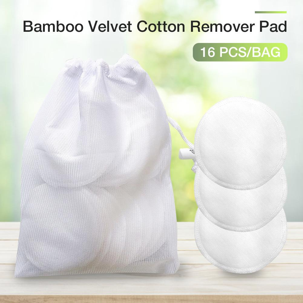 16Pcs lot Makeup Remover Pad Double sided Bamboo Velvet Cotton Remover Pad For Facial Cleaning Pads Face Washing Tool in Makeup Remover from Beauty Health