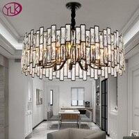 Luxo moderno lustre redondo iluminação led lâmpada de jantar/sala estar quarto cristal luminária casa lustres preto