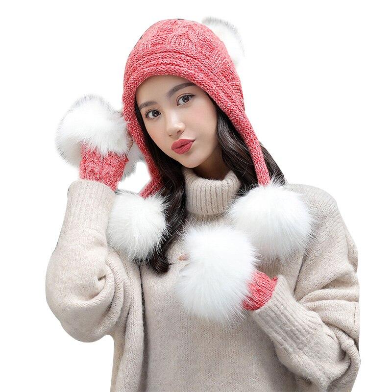 Faux Fur Gloves Winter Hats For Women Solid Plus Velvet Thick Bonnet Fashion Ladies Pompom Knit Beanie Warm Soft Skullies Set