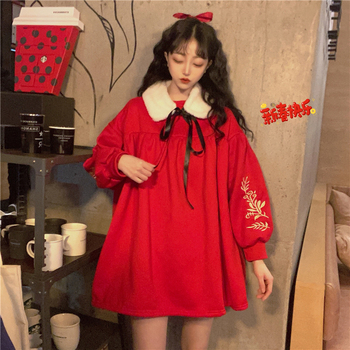 New year red dress chinese style embroidered sweet plus velvet thick puff sleeve round neck doll dress female spring plus embroidered mesh insert pleated sleeve bardot dress