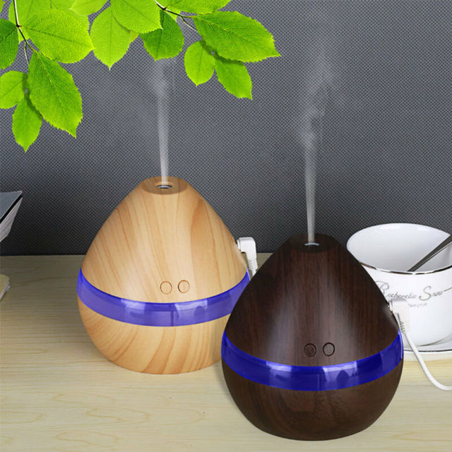 300ML Air Humidifier Essential Oil Diffuser wood grain Aromatherapy diffusers Aroma purifier MistMaker led light for Home 4