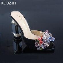 Brand Designer rhinestone Sandals Women Shoes Luxury 2019 Summer Black High Heels Ladies Party&Wedding Shoes Woman Open Toe heel