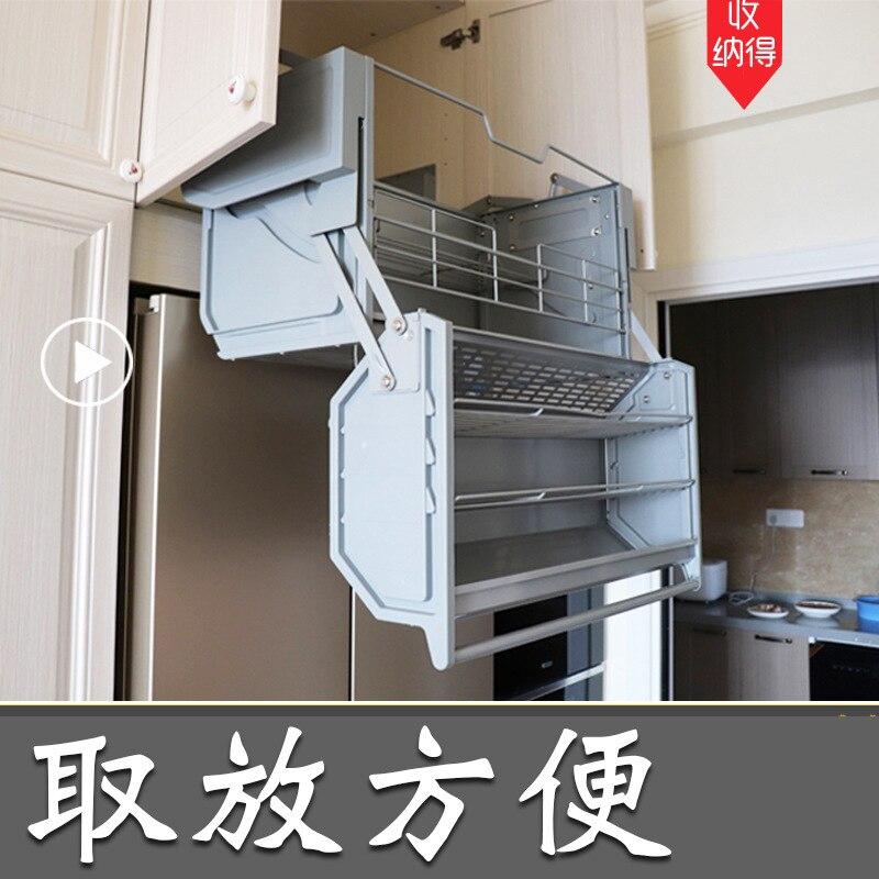 Damping Catamaran Storage To Refrigerator Top Cabinet Height Adjustable Basket Large Volume Height Adjustable Cabinet Kitchen Wall Mounted Kitchen Racks Aliexpress